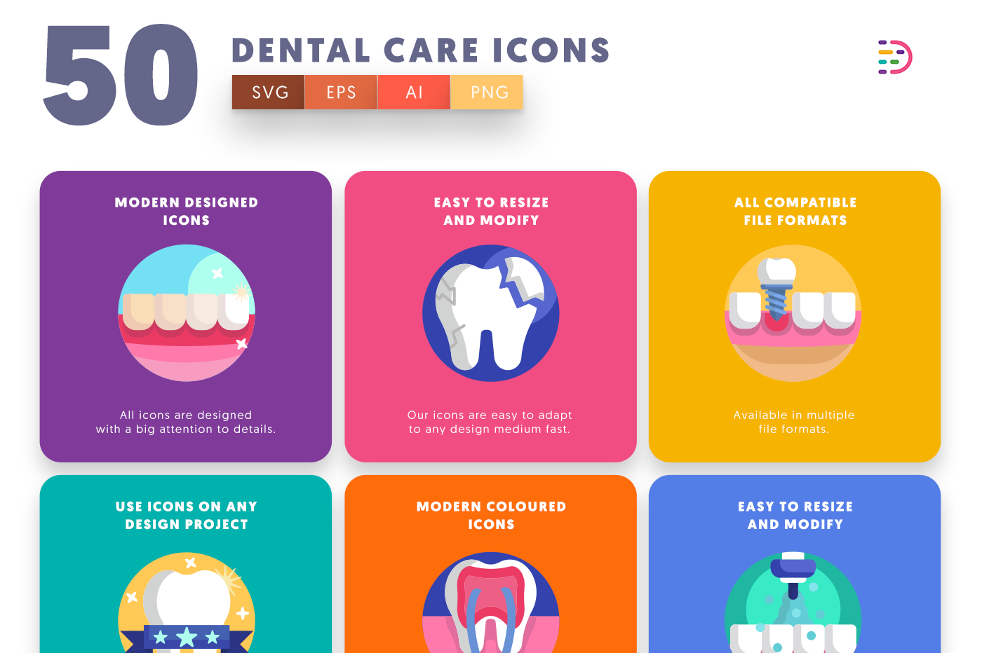 50 Dental Care Icons with colored backgrounds