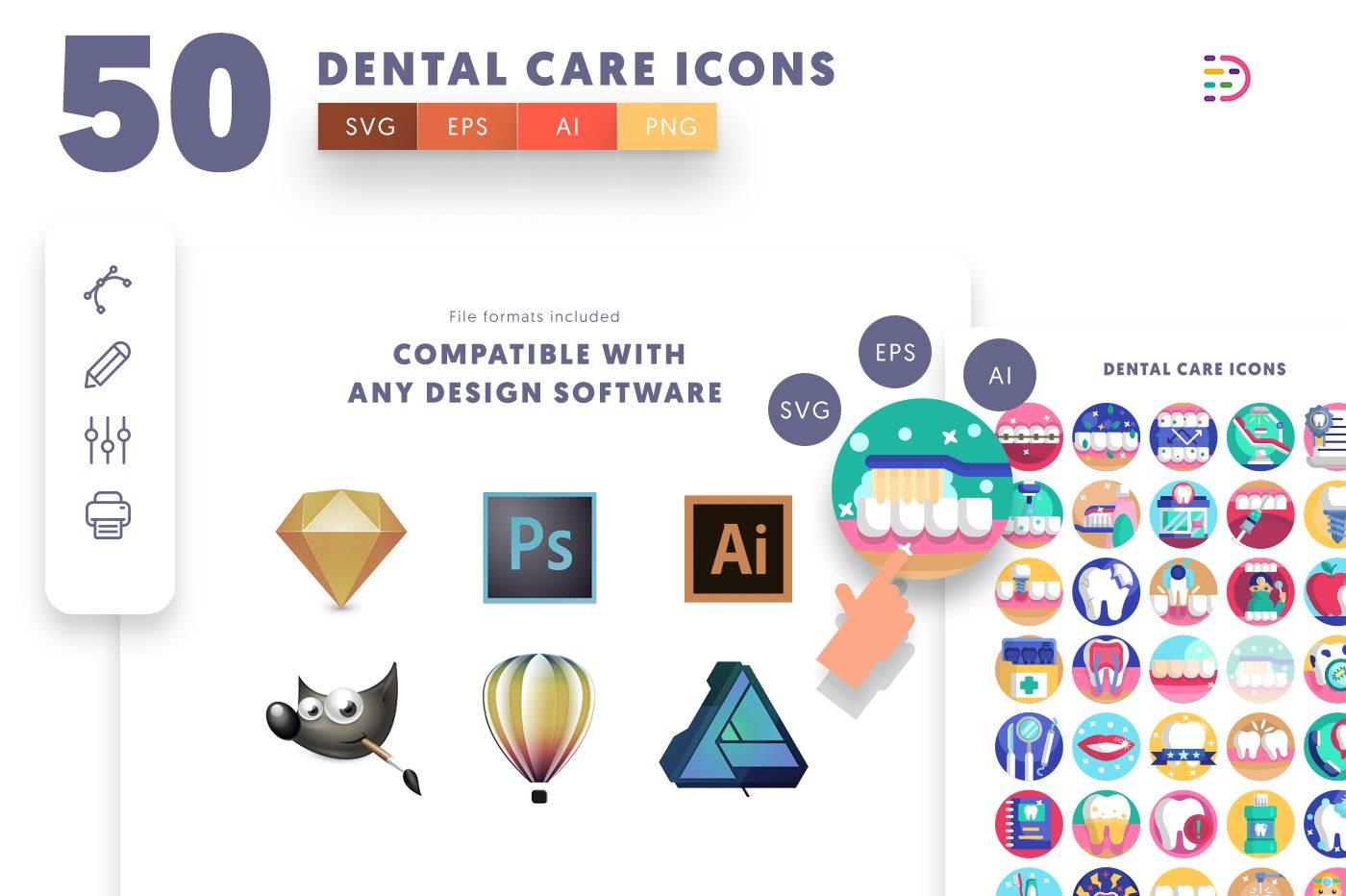 full vector 50 Dental Care Icons EPS, SVG, PNG