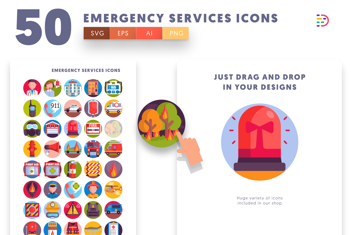 Drag and drop vector 50 Emergency Services Icons