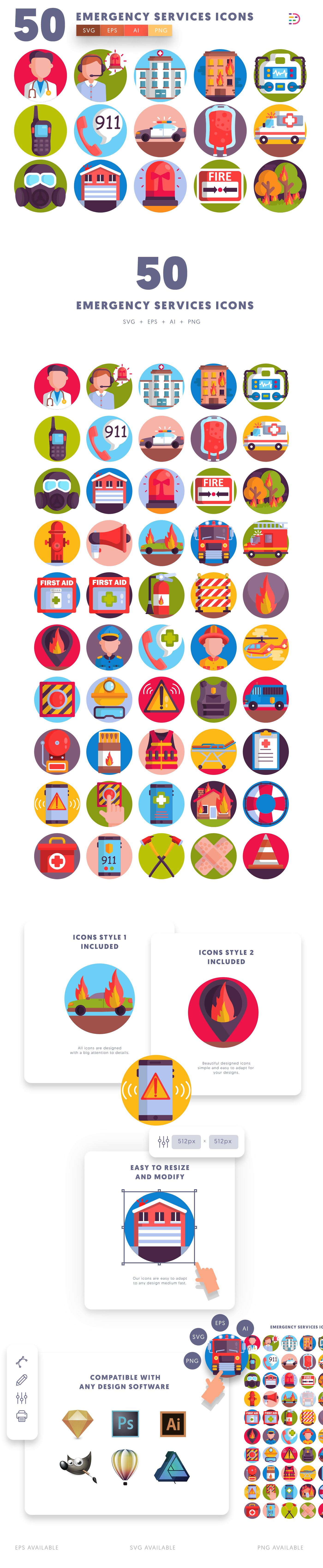 Emergency Services icons info graphic