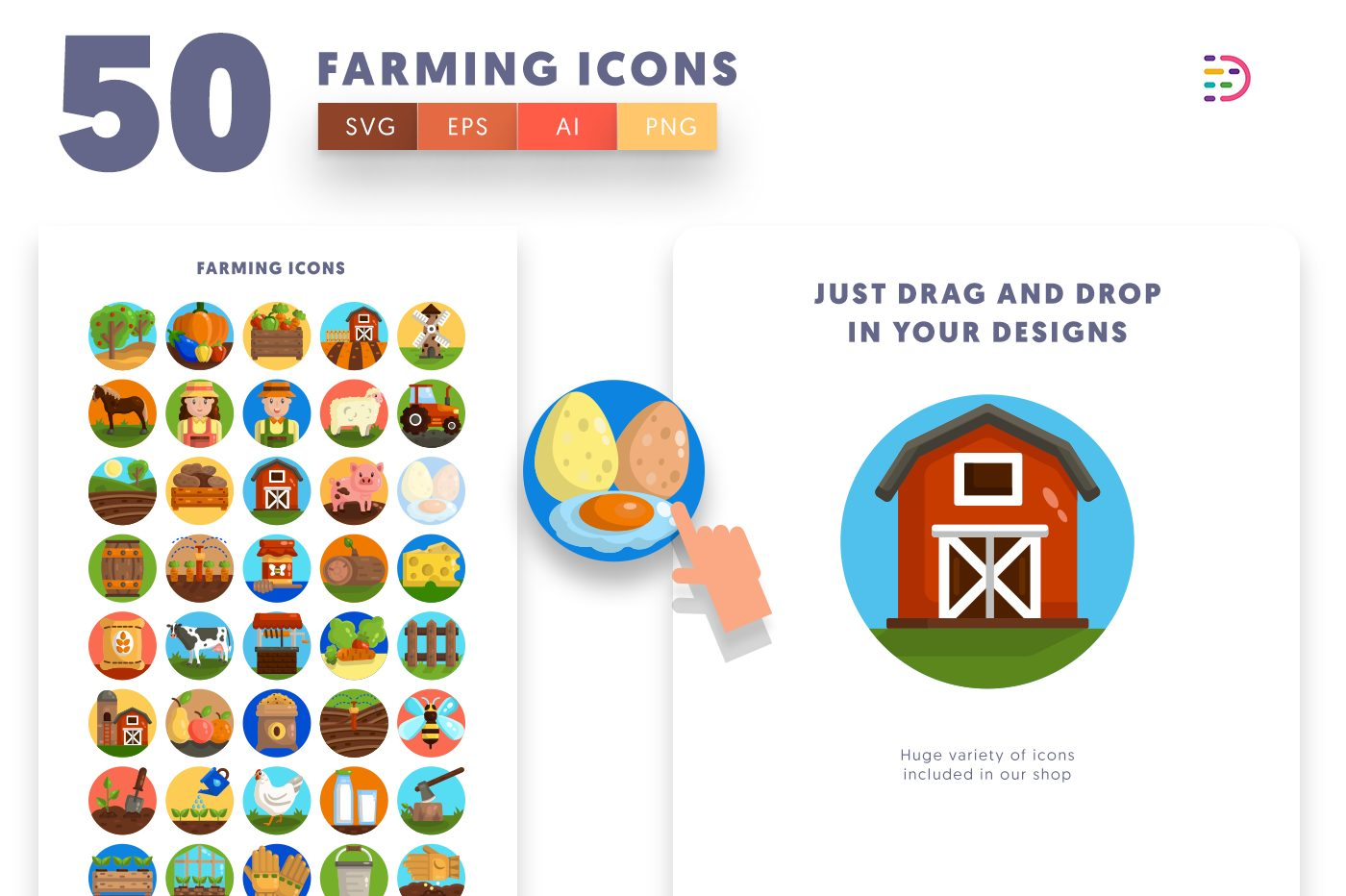 Drag and drop vector 50 Farming Icons