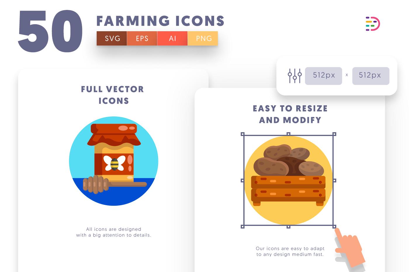 Full vector 50Farming Icons