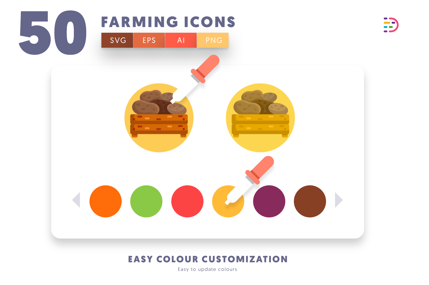 Customizable and vector 50 Farming Icons