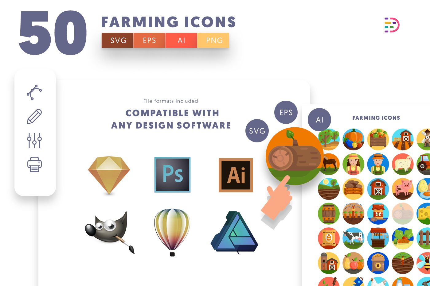 full vector 50 Farming Icons EPS, SVG, PNG