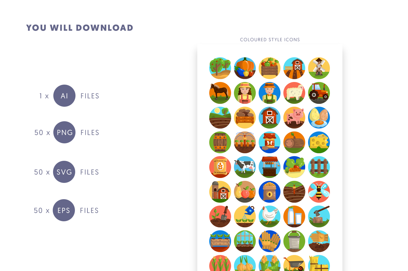 Compatible 50 Farming Icons pack
