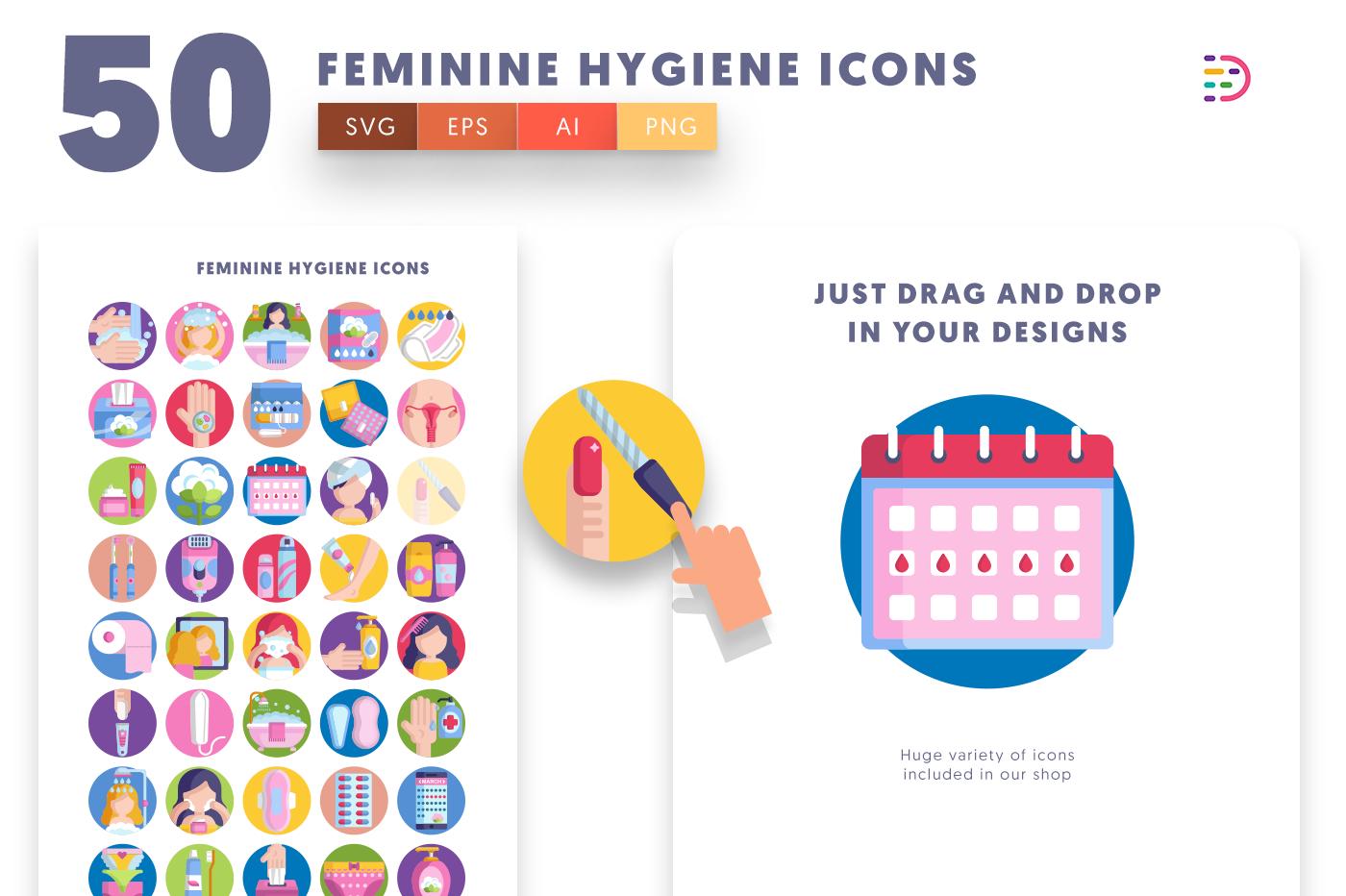 Drag and drop vector 50 Feminine Hygiene Icons