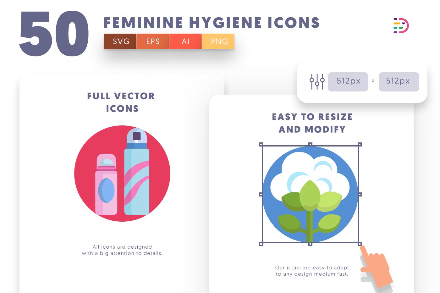 Full vector 50FeminineHygiene Icons