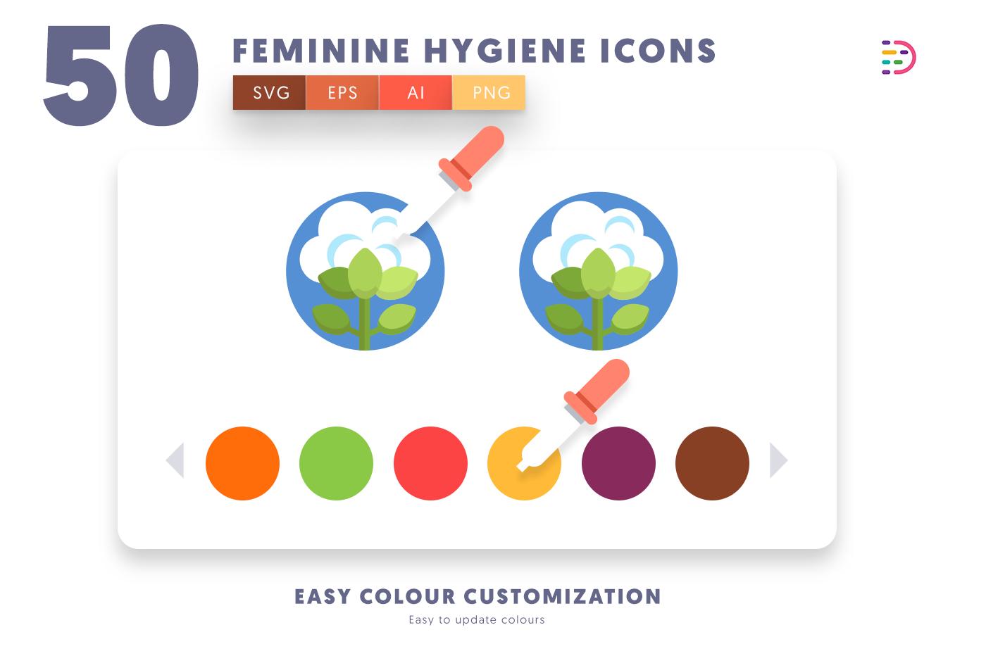 Customizable and vector 50 Feminine Hygiene Icons