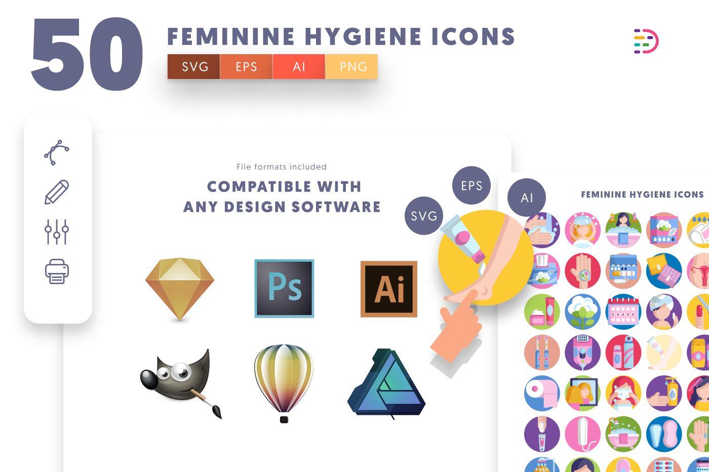 full vector 50 Feminine Hygiene Icons EPS, SVG, PNG