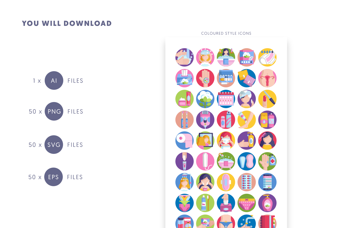 Compatible 50 Feminine Hygiene Icons pack