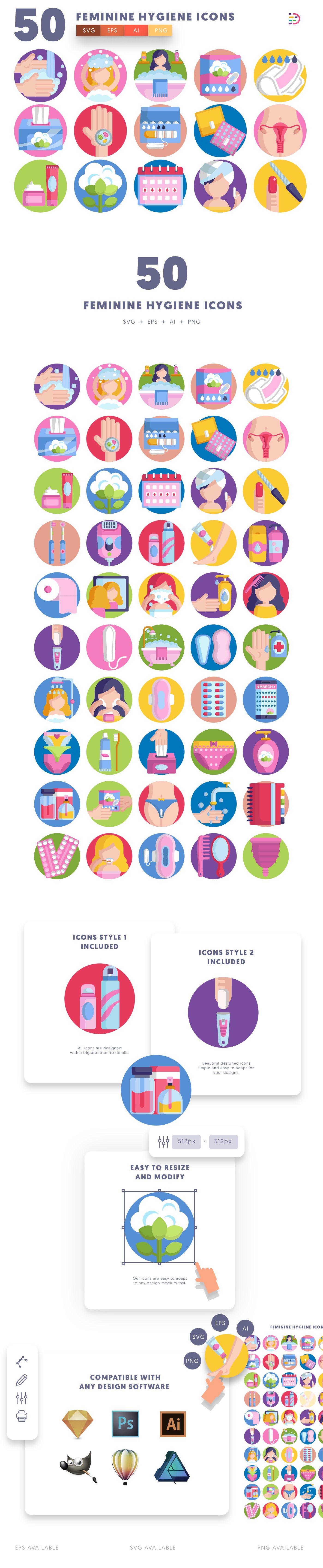 Feminine Hygiene icons info graphic
