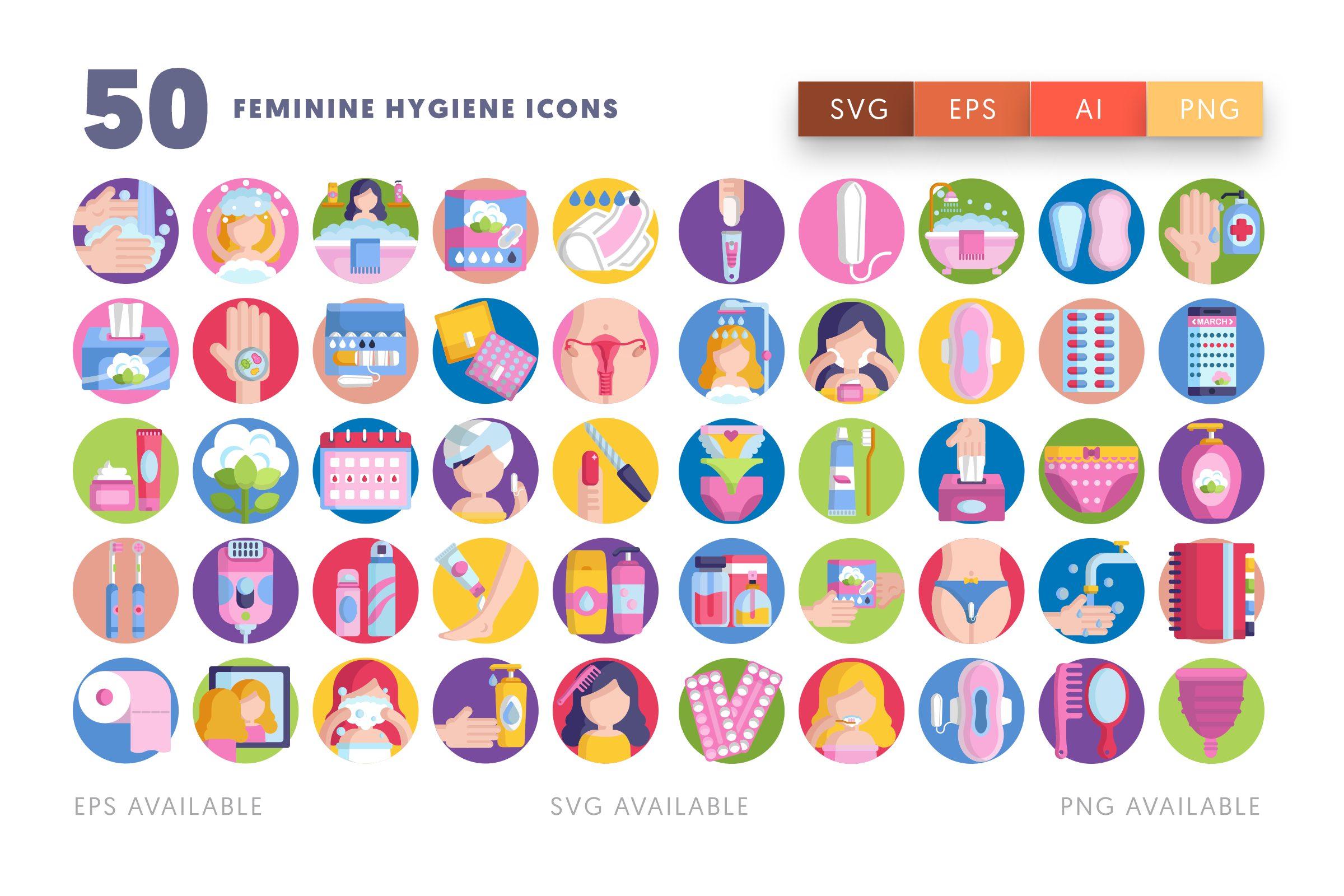 Feminine Hygiene icons png/svg/eps