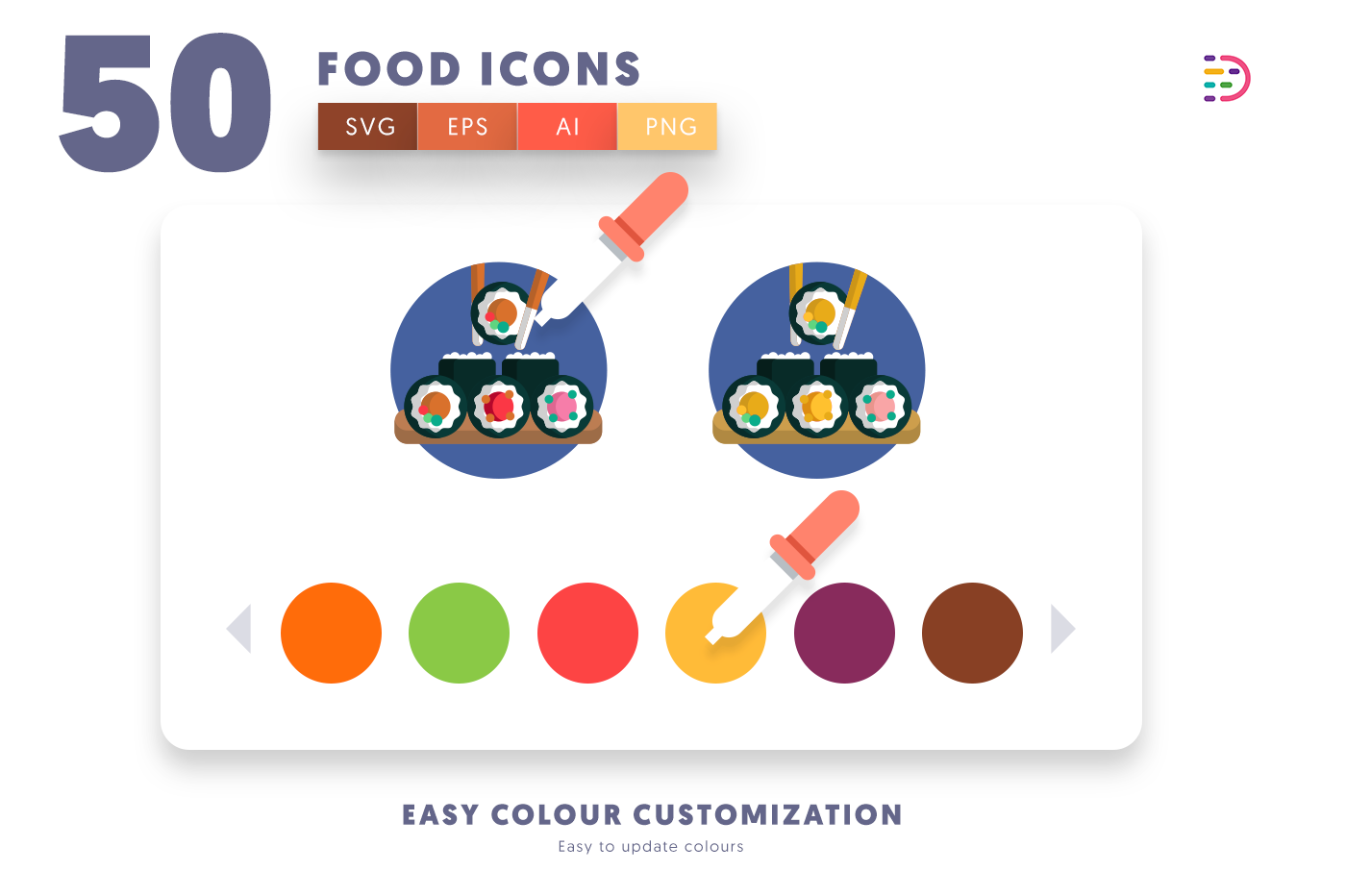 Customizable and vector 50 Food Icons