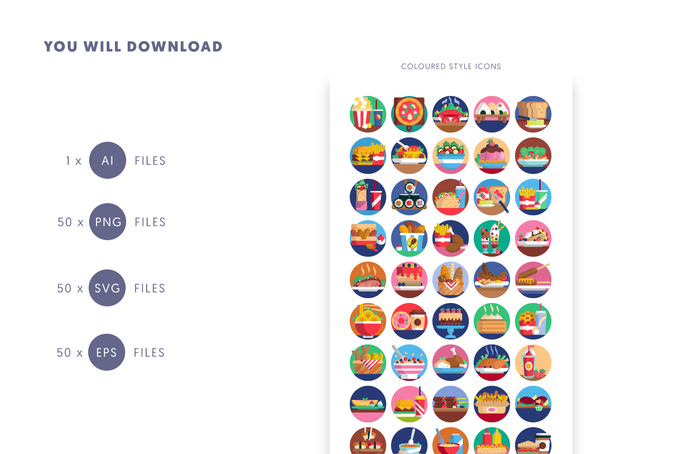 Compatible 50 Food Icons pack