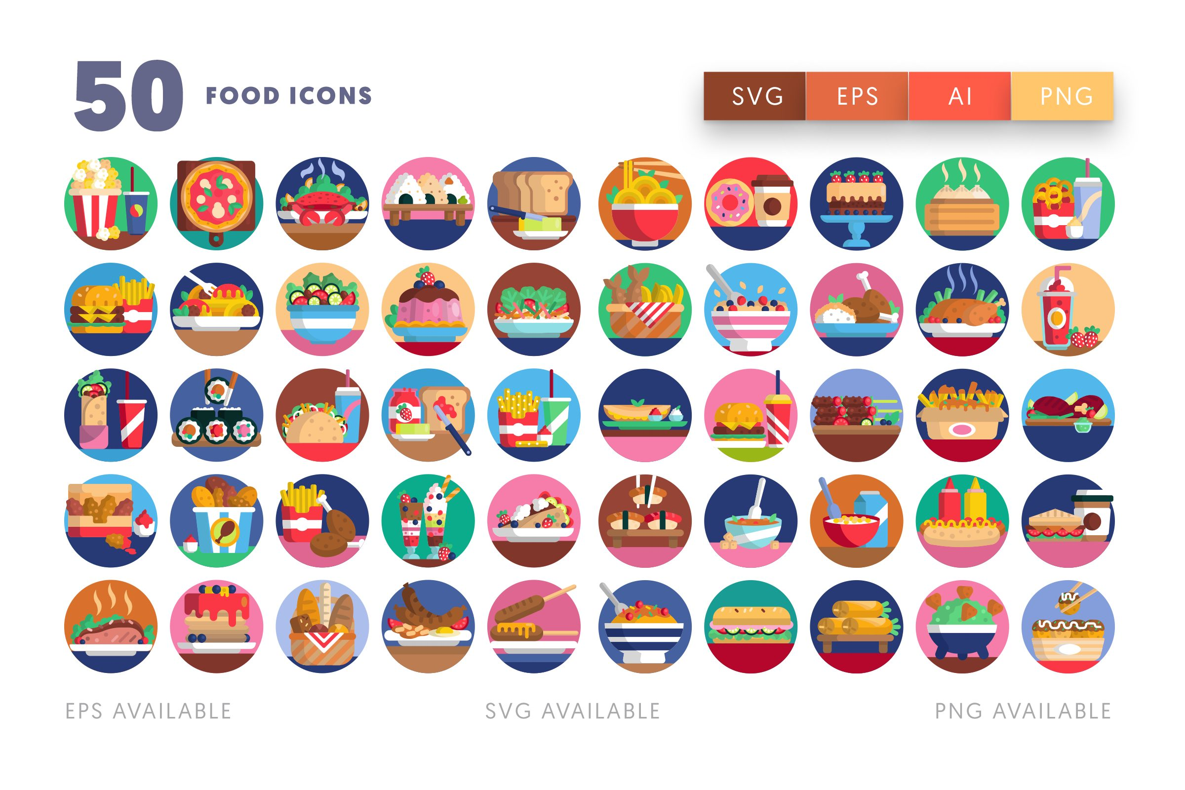Food icons png/svg/eps