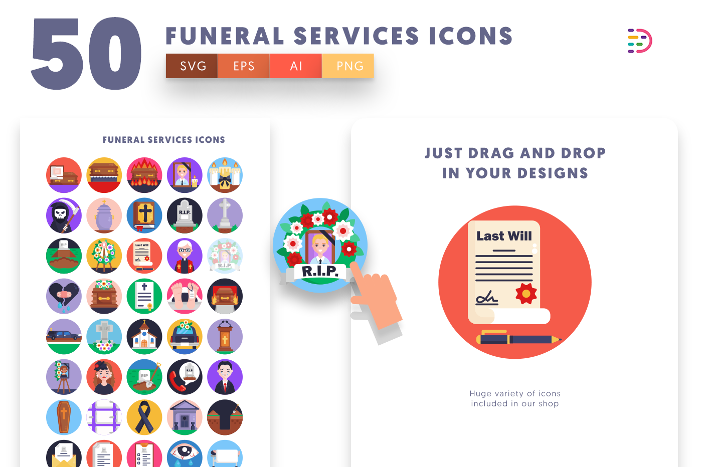Drag and drop vector 50 Funeral Services