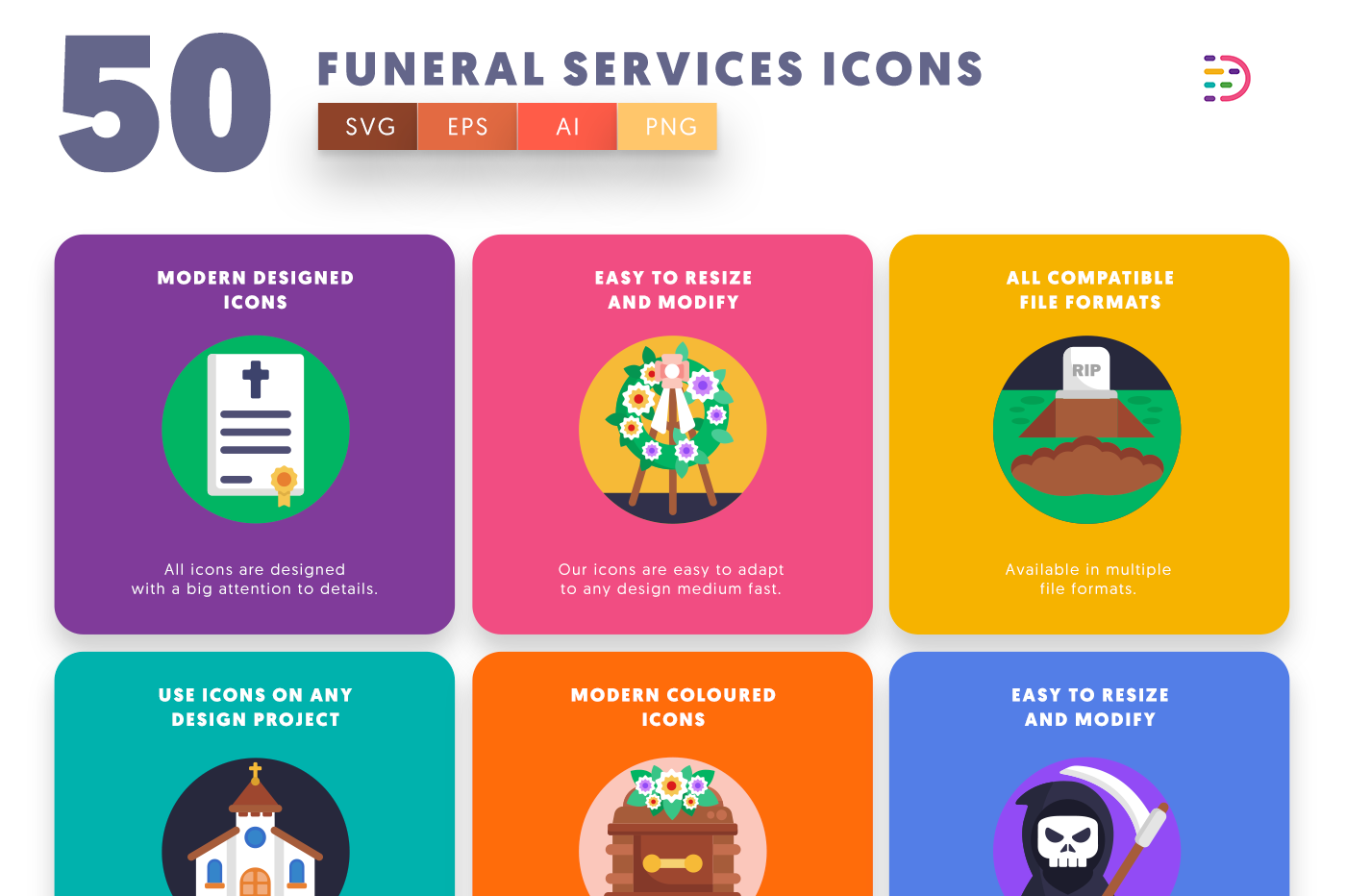 50 Funeral Services Icons with colored backgrounds