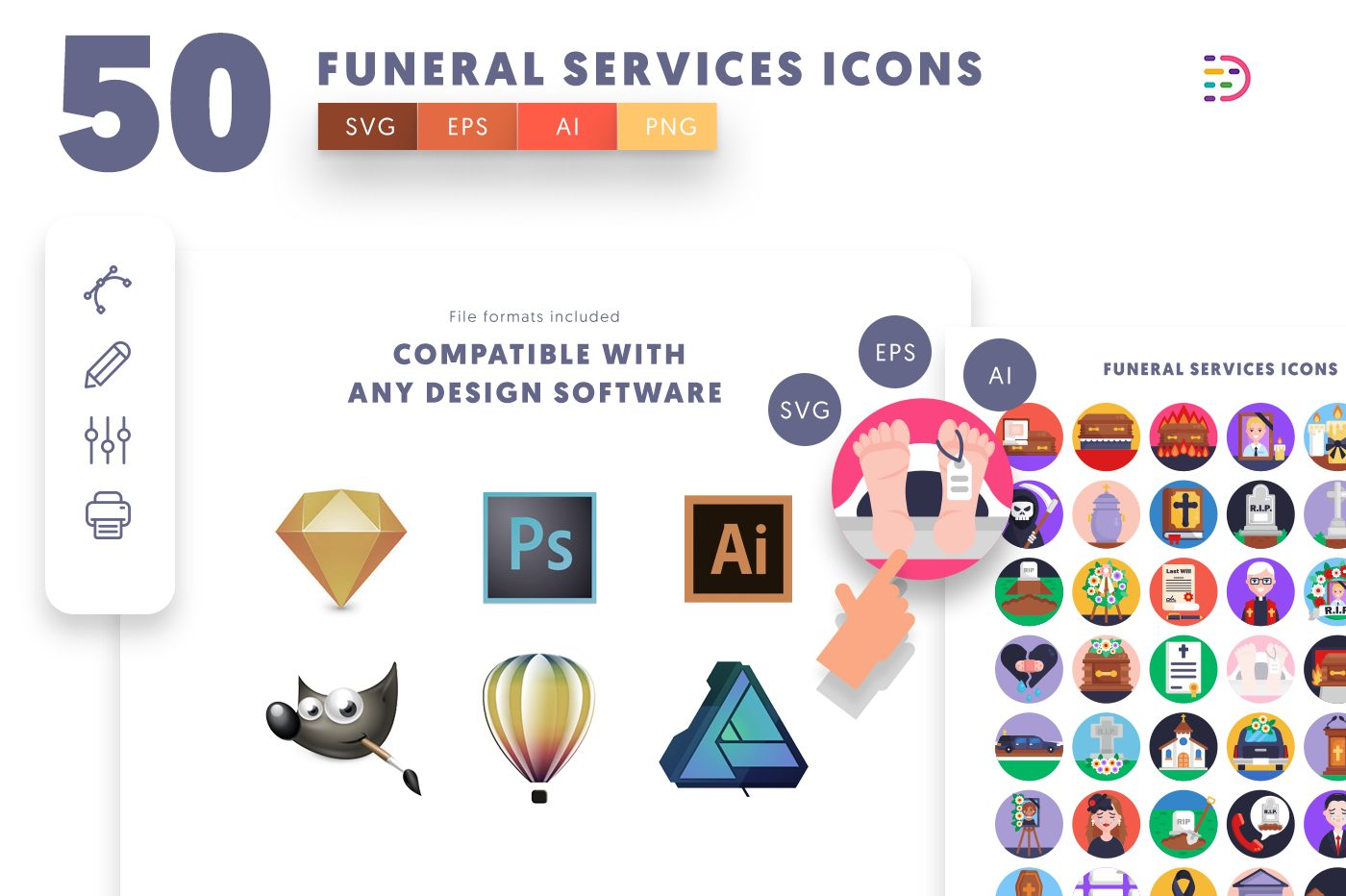 full vector 50 Funeral Services Icons EPS, SVG, PNG