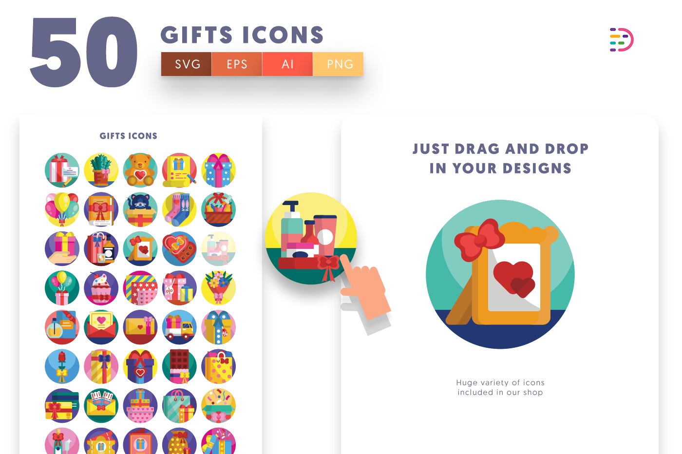 Drag and drop vector 50 Gifts Icons
