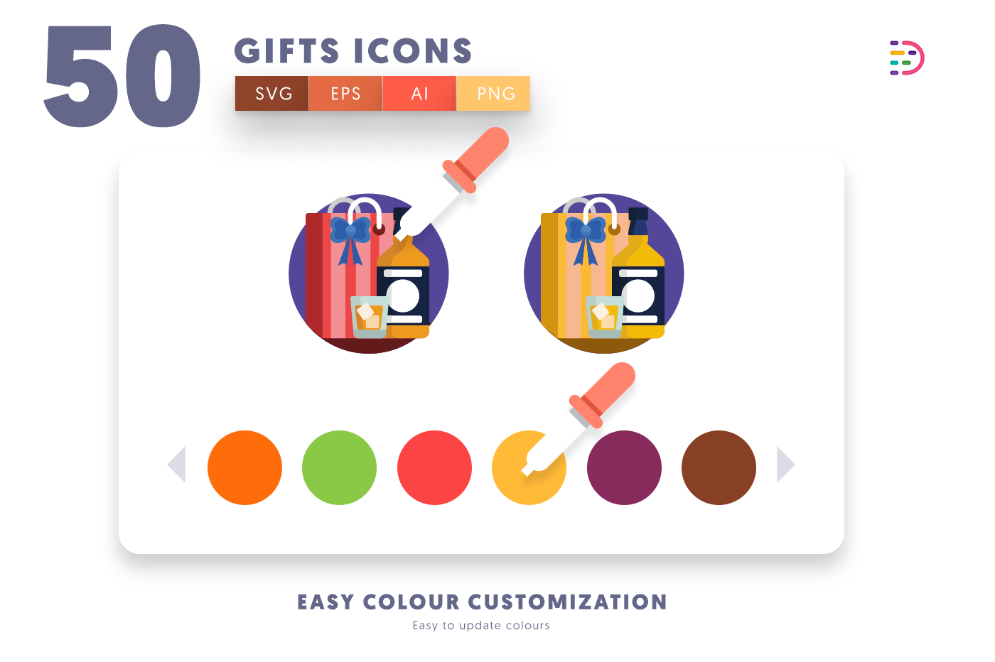 Customizable and vector 50 Gifts Icons