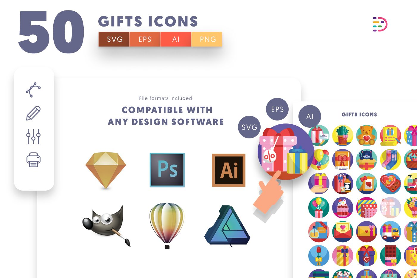 full vector 50 Gifts Icons EPS, SVG, PNG