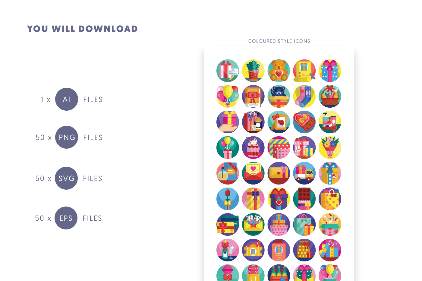 Compatible 50 Gifts Icons pack