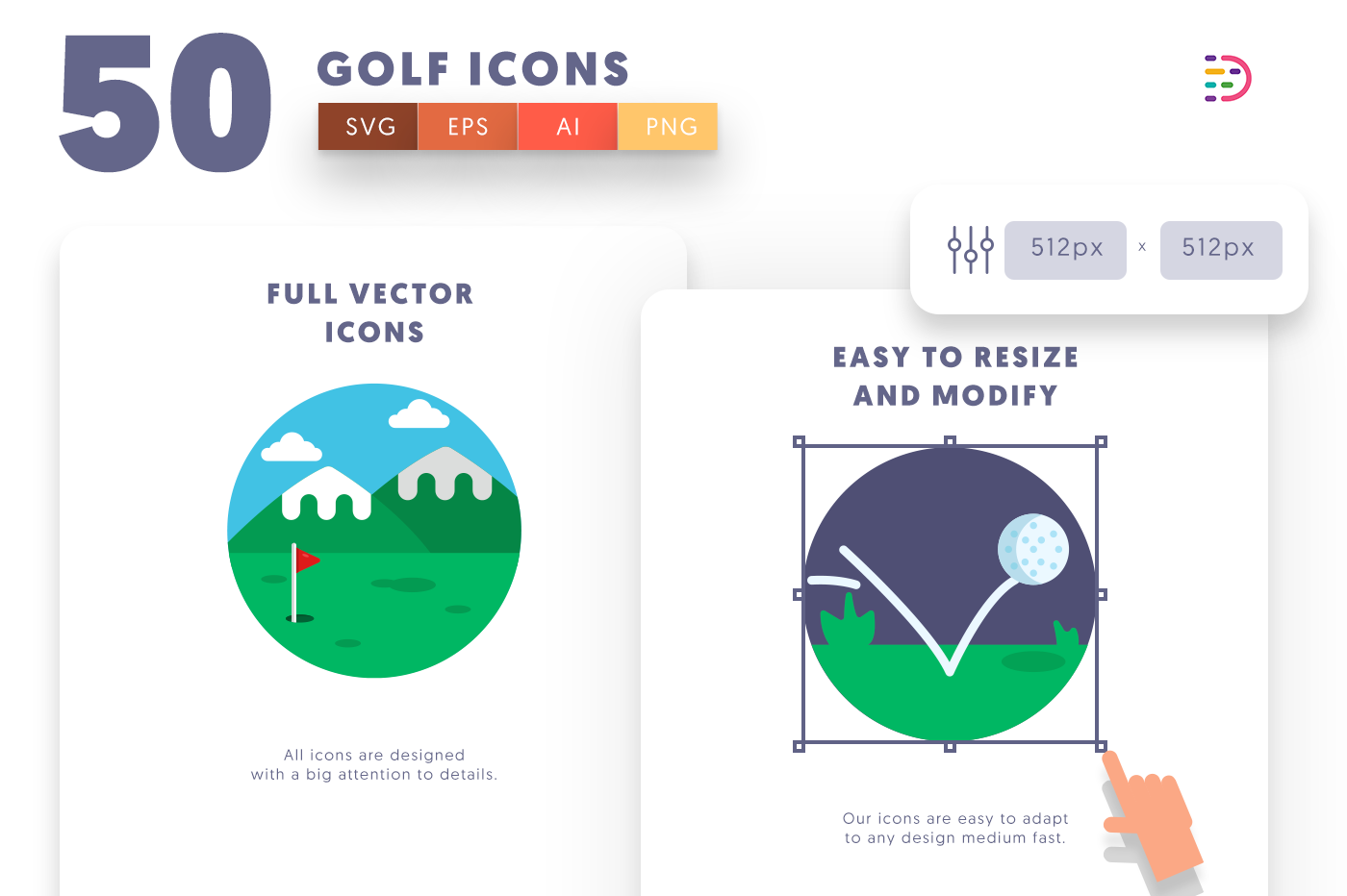 Full vector 50Golf Icons