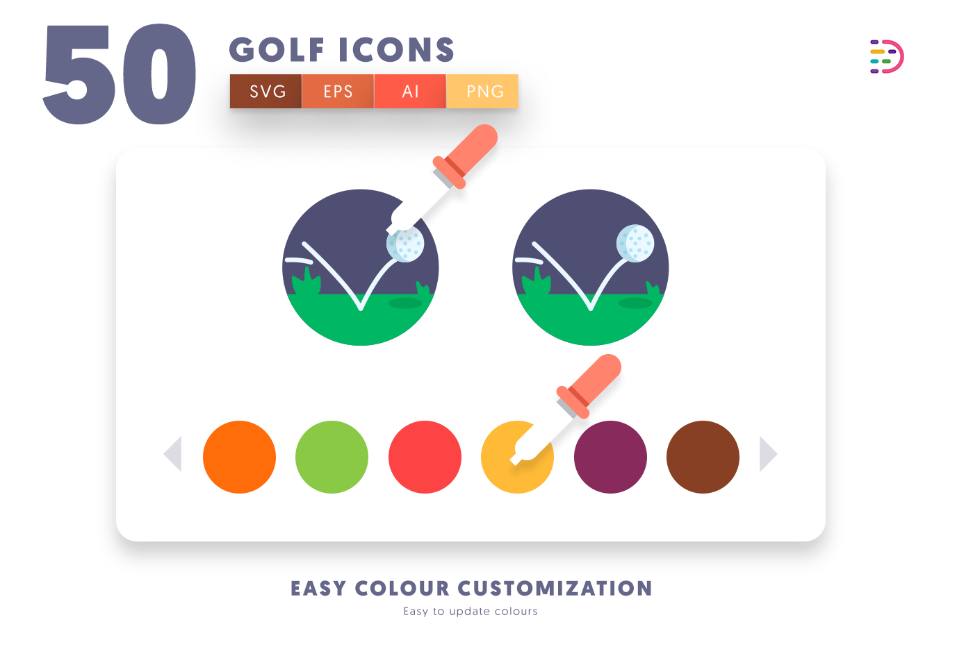 Customizable and vector 50 Golf Icons