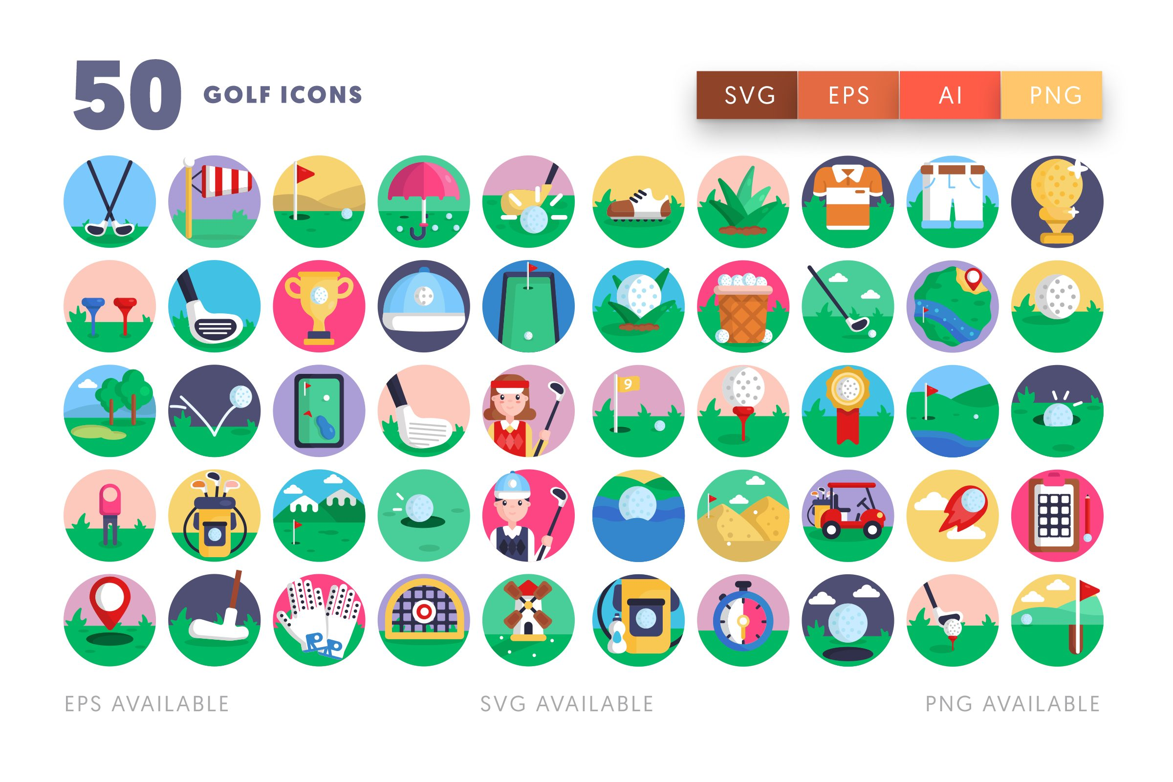 Golf icons png/svg/eps