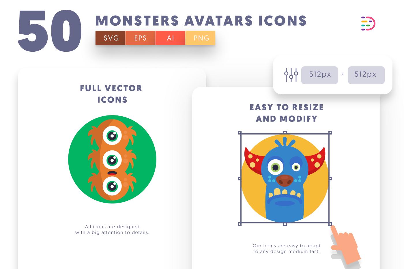 Full vector 50MonstersAvatars Icons