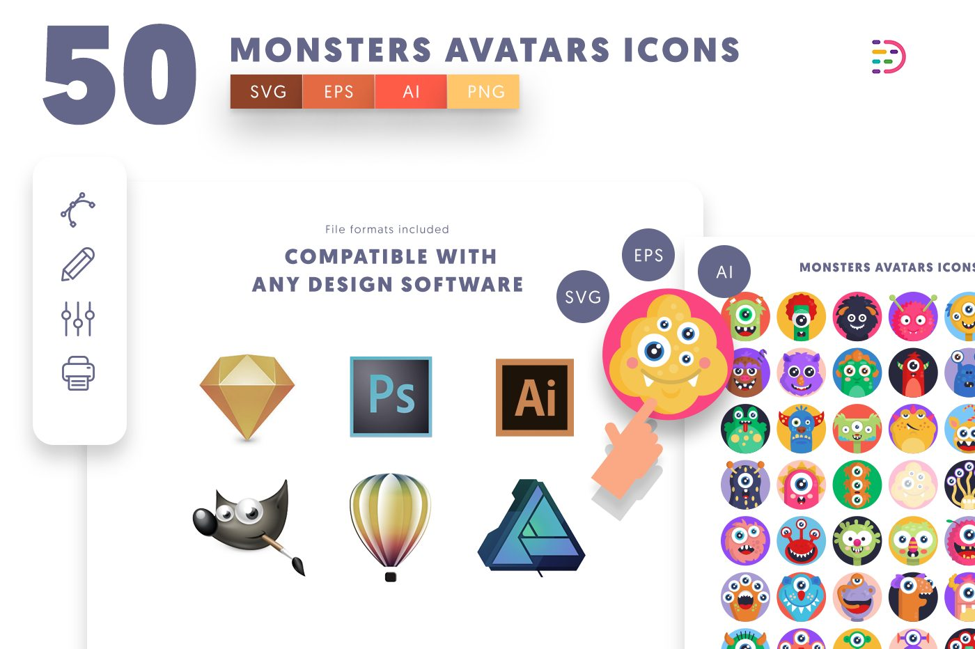 full vector 50 Monsters Avatars Icons EPS, SVG, PNG