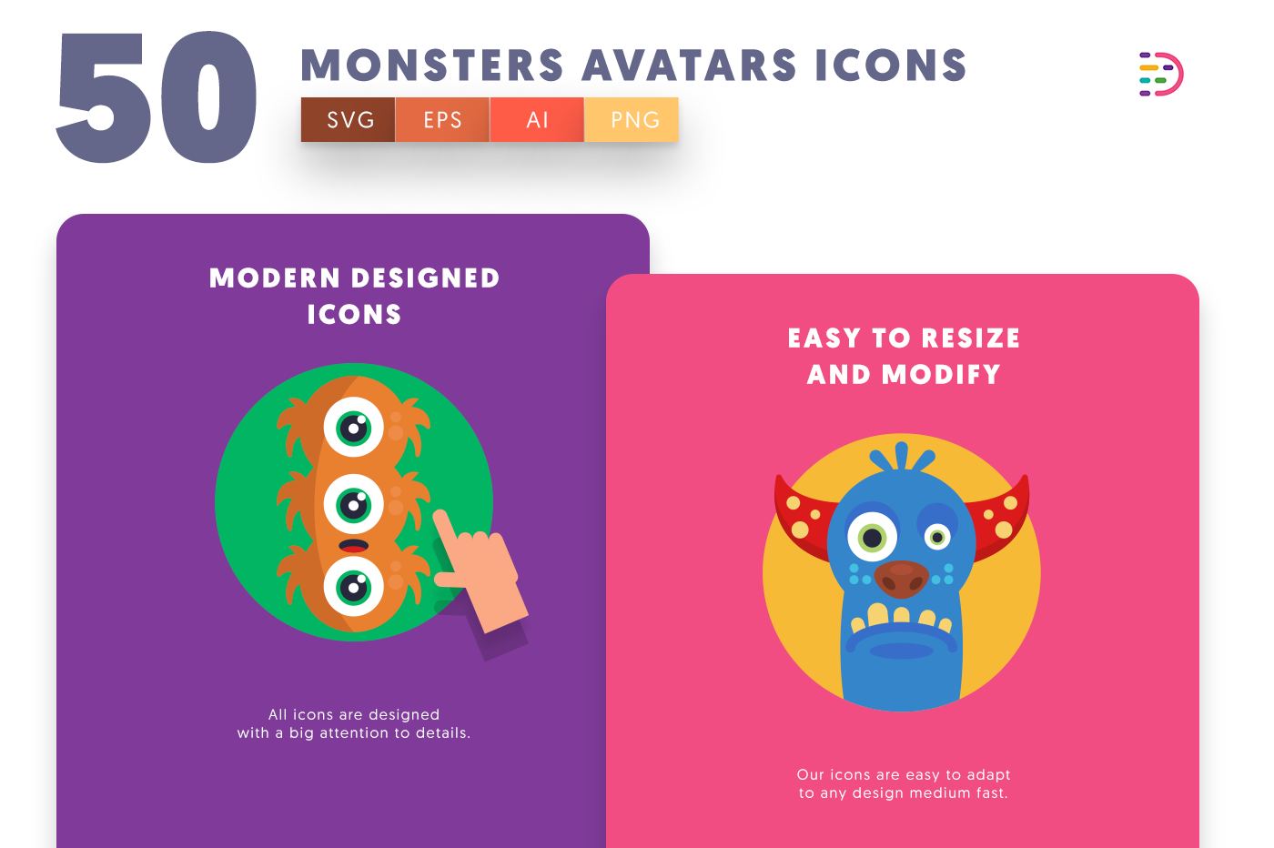 Monsters Avatars icons png/svg/eps