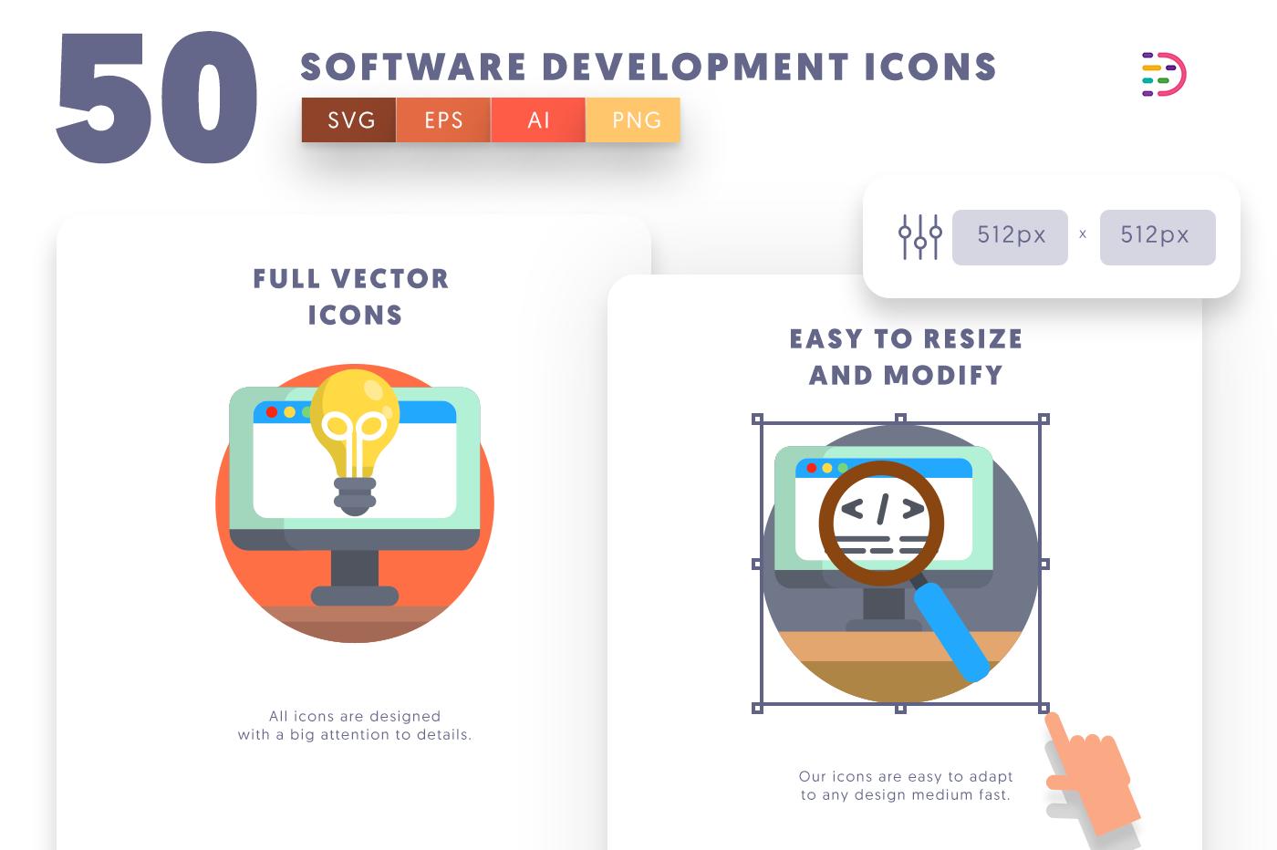 Full vector 50SoftwareDevelopment Icons