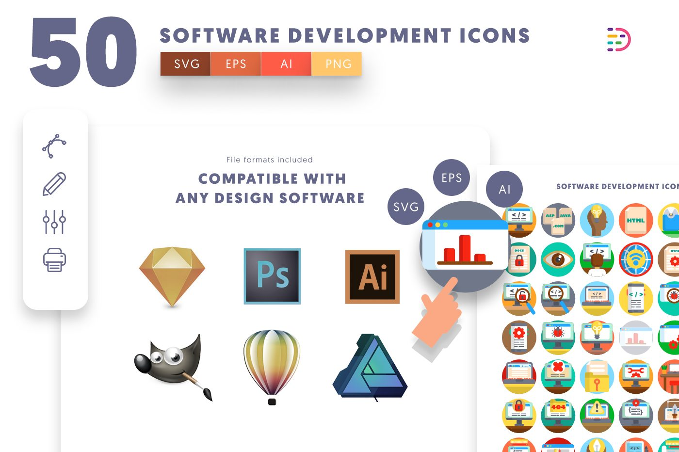 full vector 50 Software Development Icons EPS, SVG, PNG
