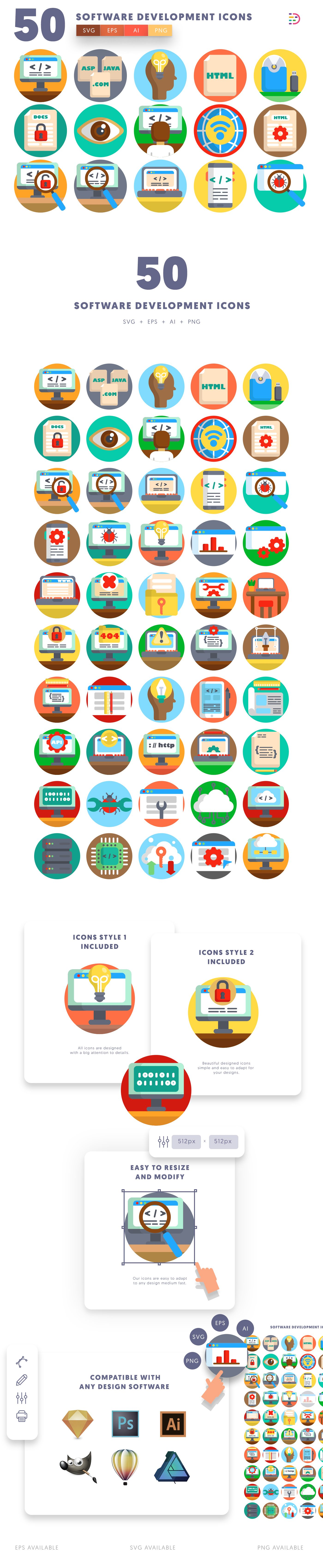 Software Development icons info graphic
