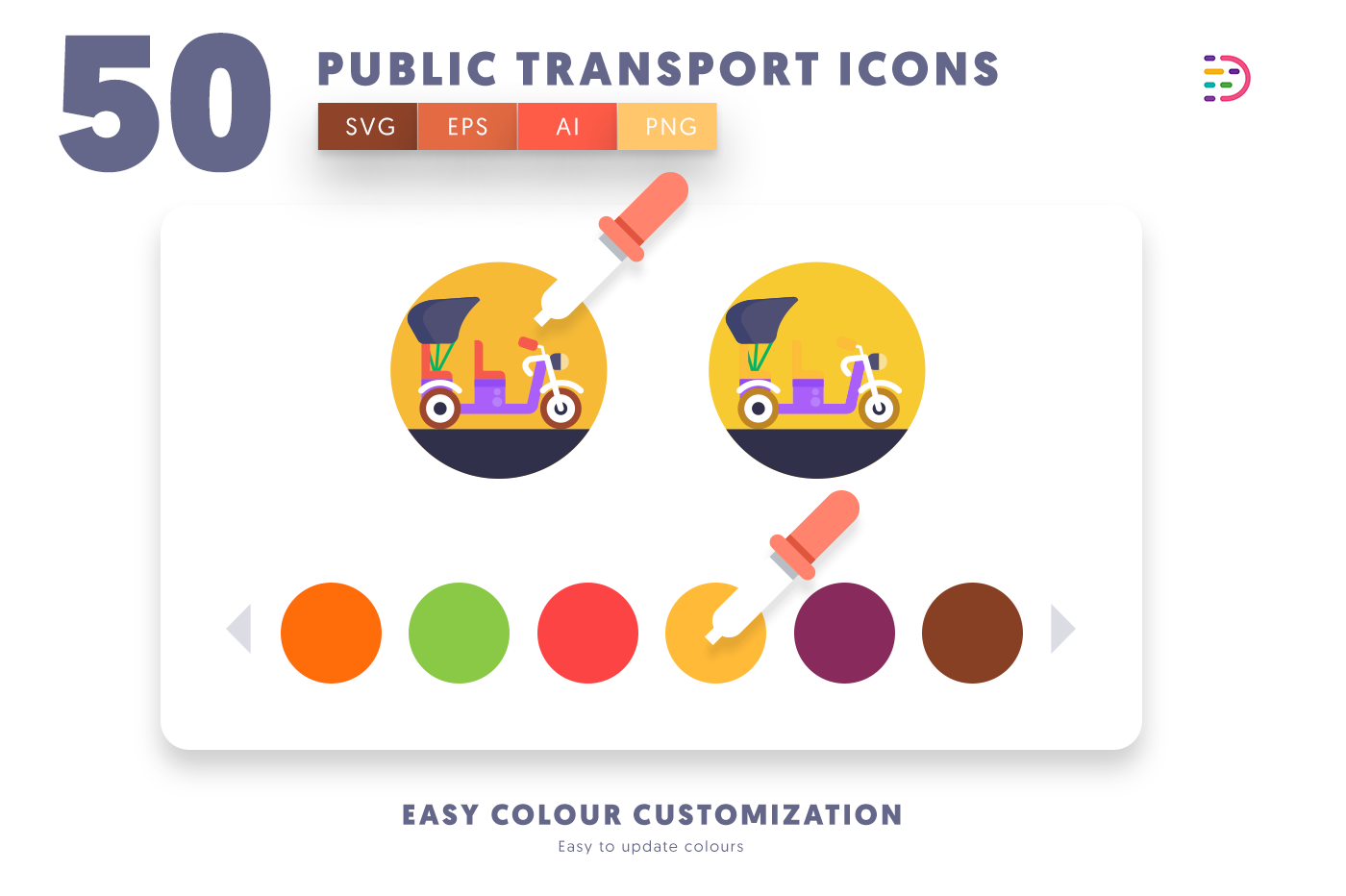 Customizable and vector 50 Public Transport Icons