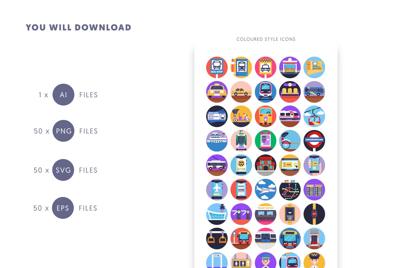 Compatible 50 Public Transport Icons pack