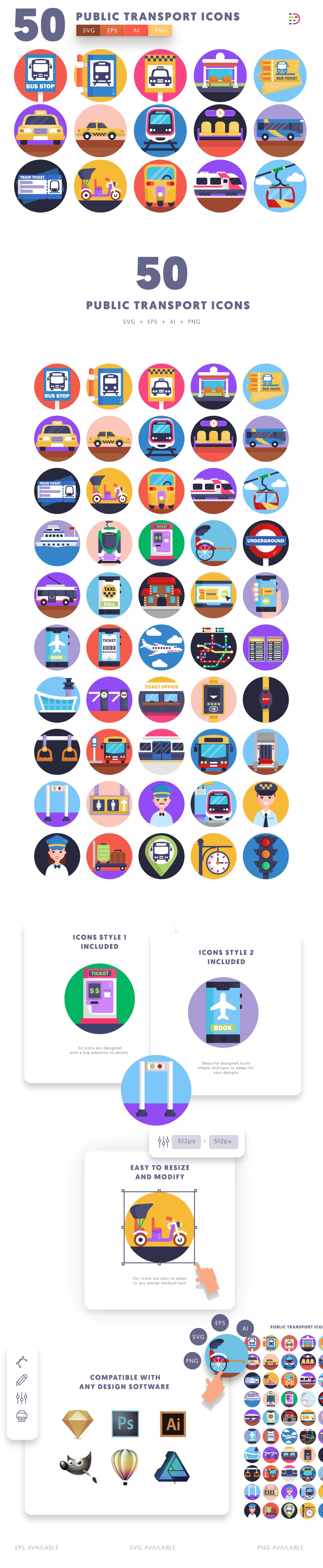 Public Transport icons info graphic