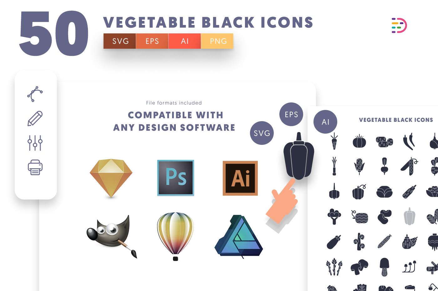 full vector 50 Vegetable Black Icons EPS, SVG, PNG