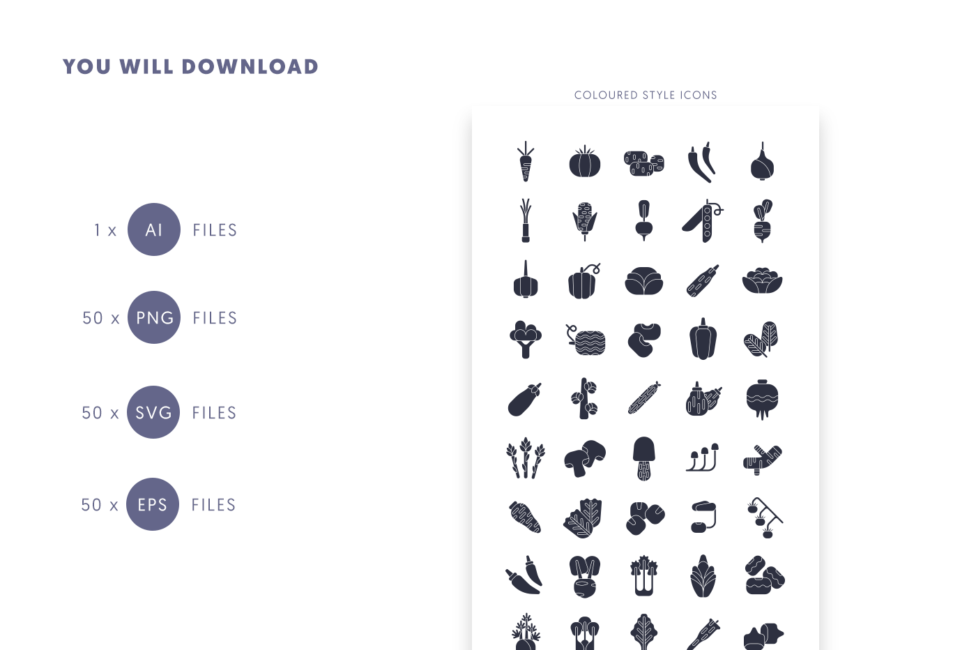 Compatible 50 Vegetable Black Icons pack
