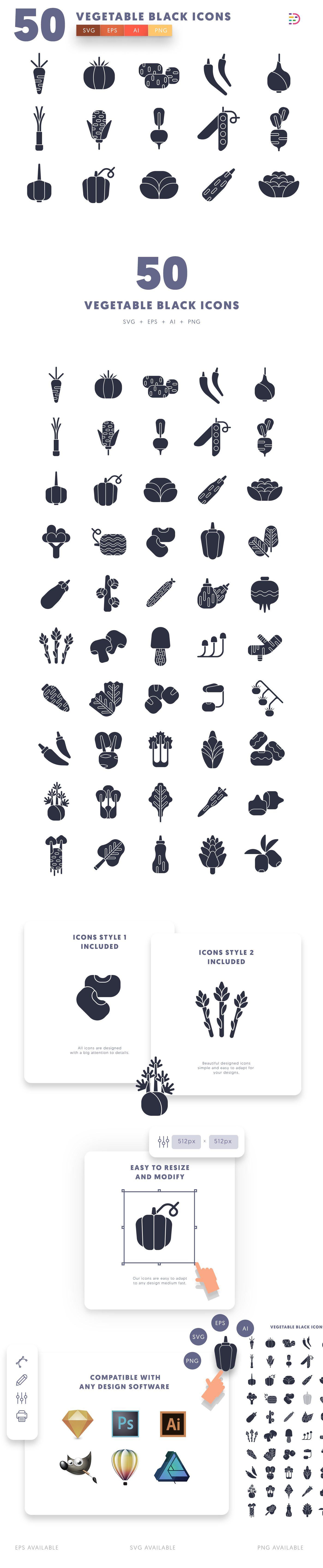 Vegetable Black icons info graphic