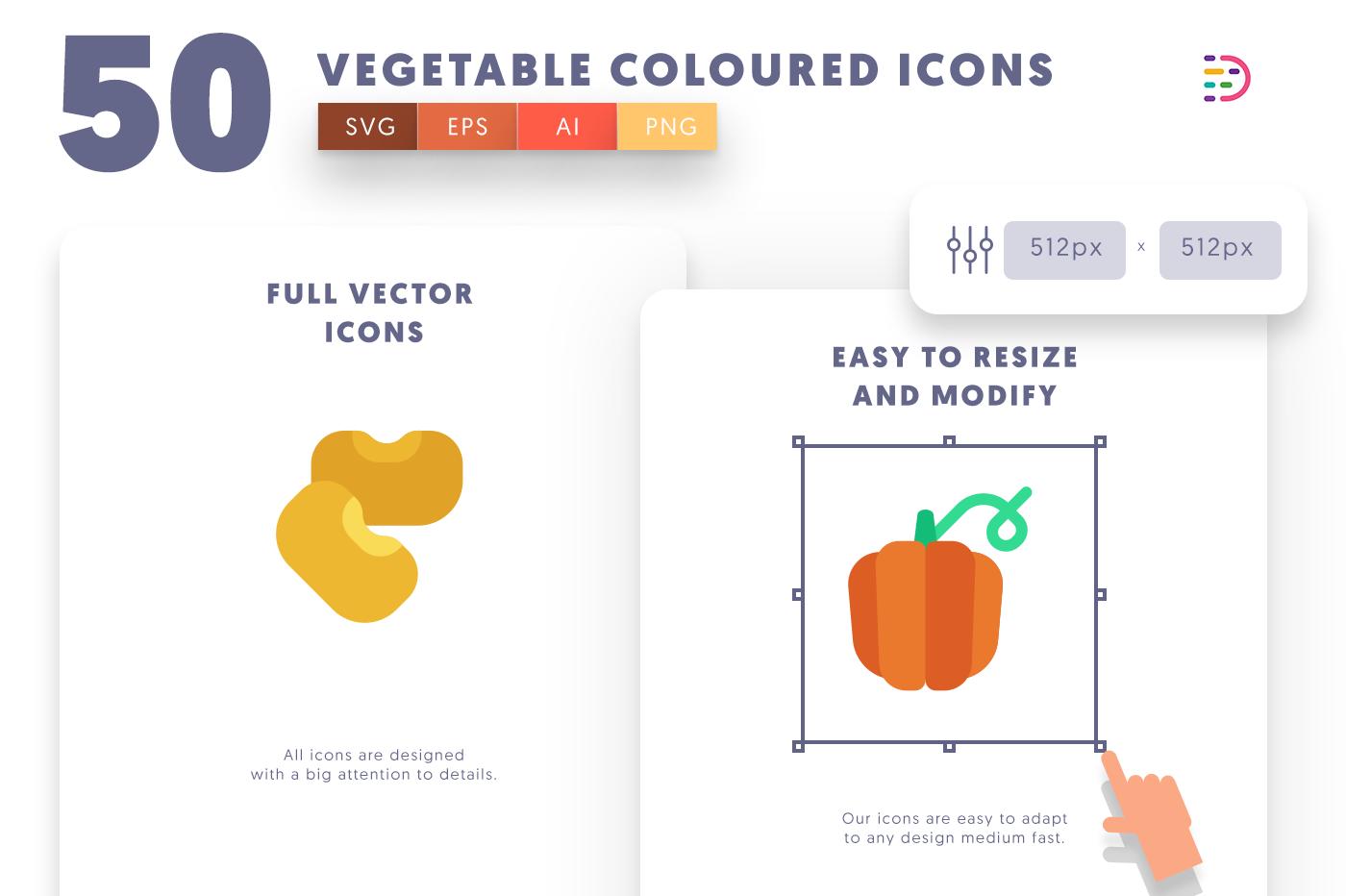 Full vector 50VegetableColoured Icons