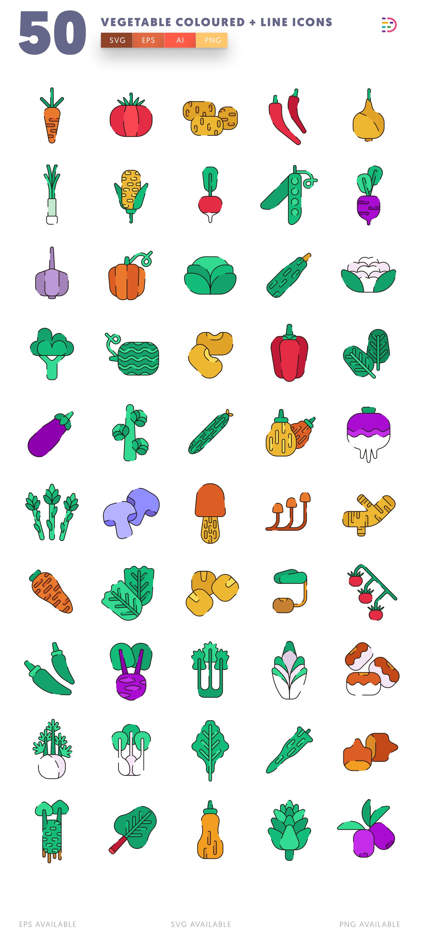 Vegetable Coloured + Lines icon pack