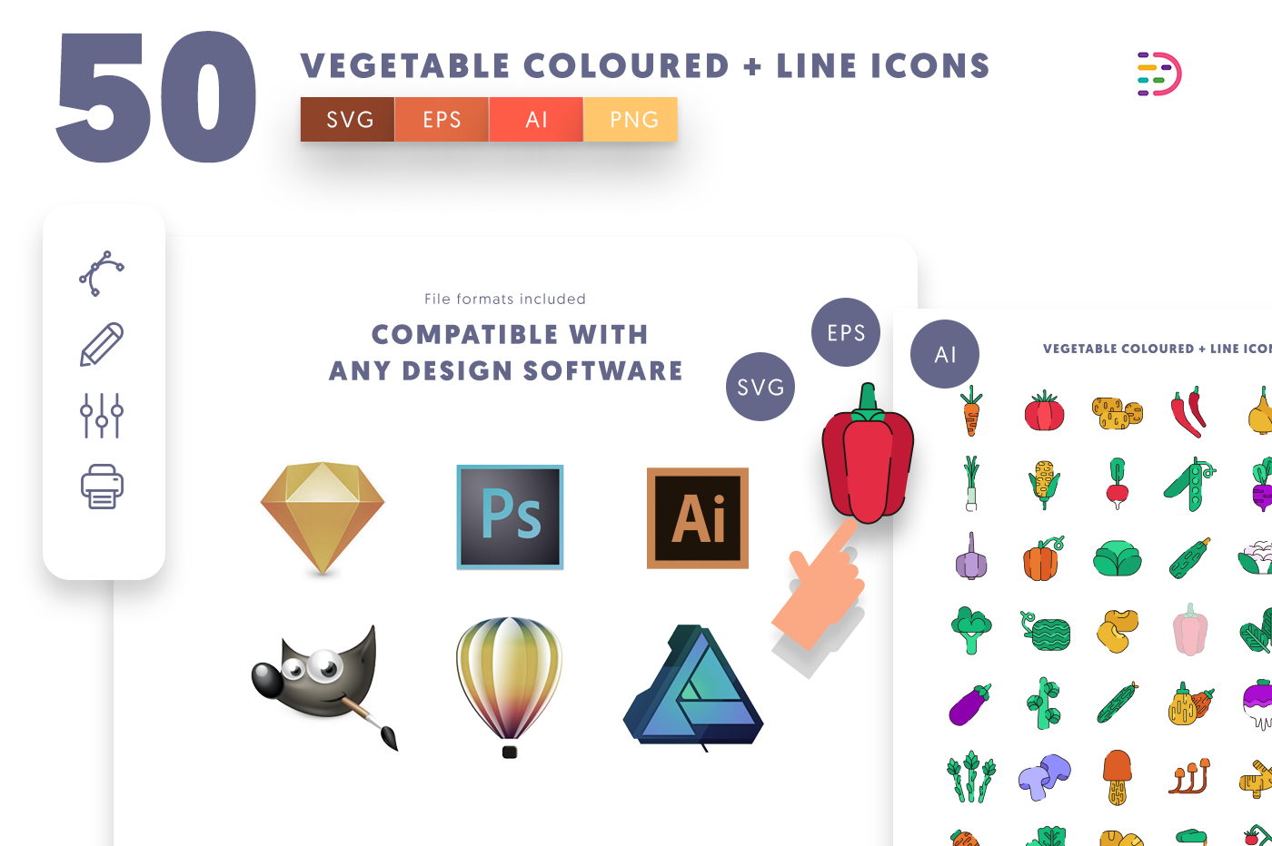 full vector 50 Vegetable Coloured + Lines Icons EPS, SVG, PNG