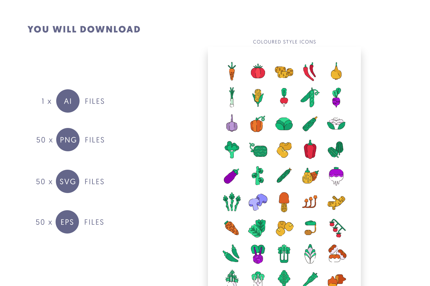 Compatible 50 Vegetable Coloured + Lines Icons pack