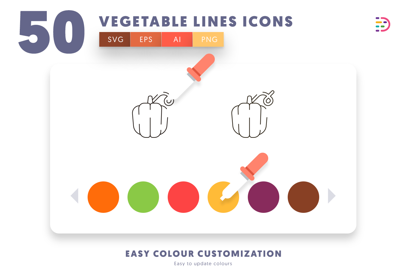 Customizable and vector 50 Vegetable Lines Icons