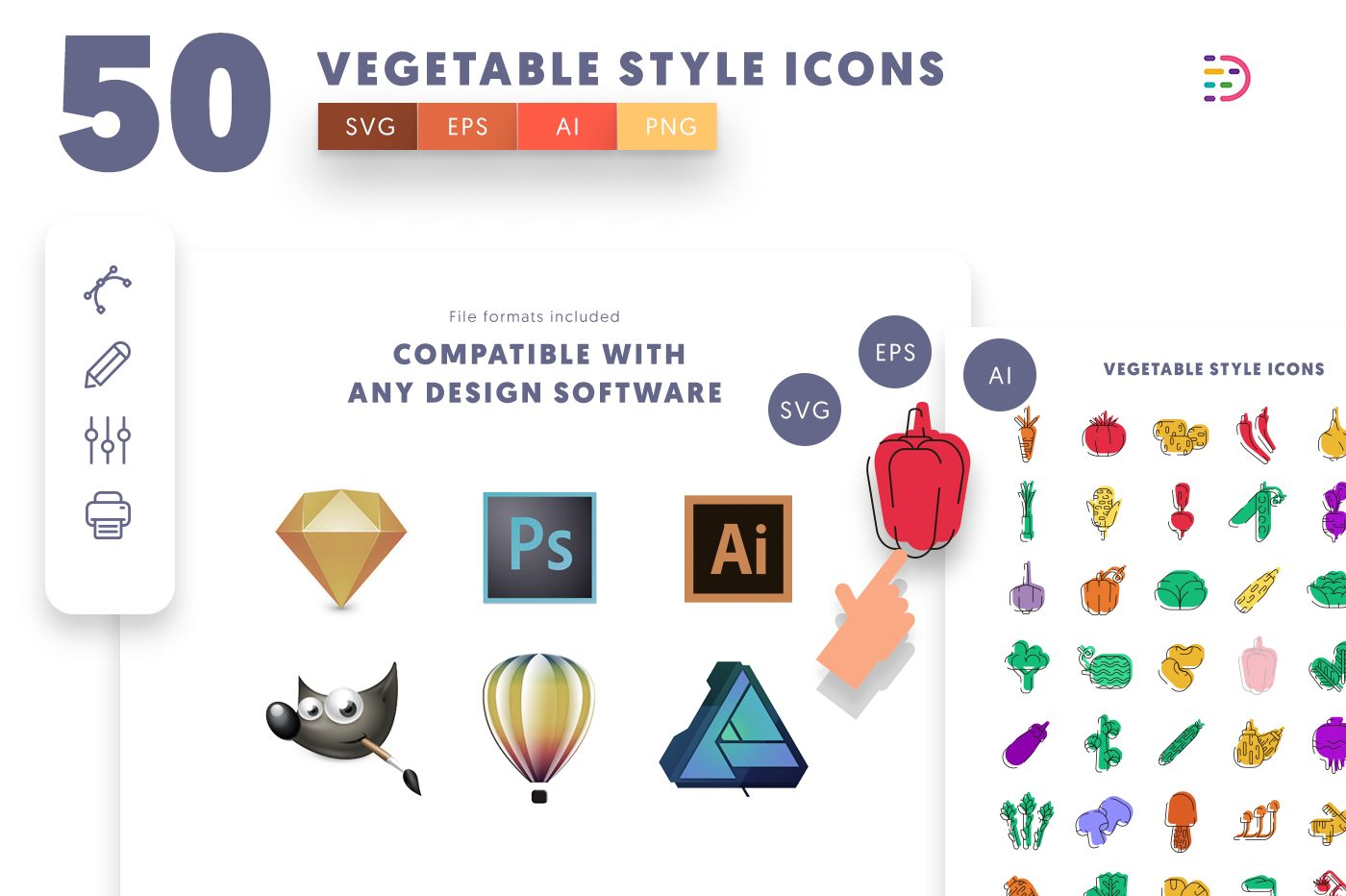 full vector 50 Vegetable Style Icons EPS, SVG, PNG