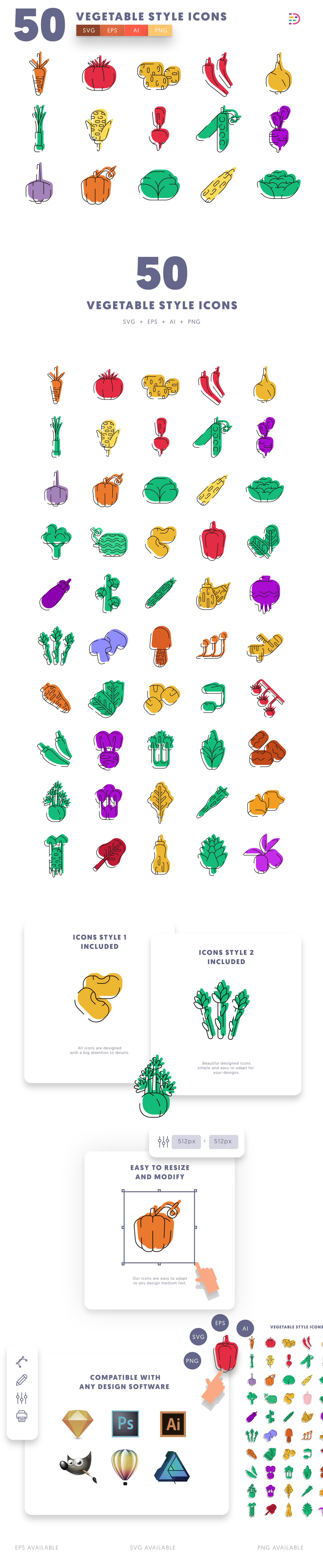 Vegetable Style icons info graphic