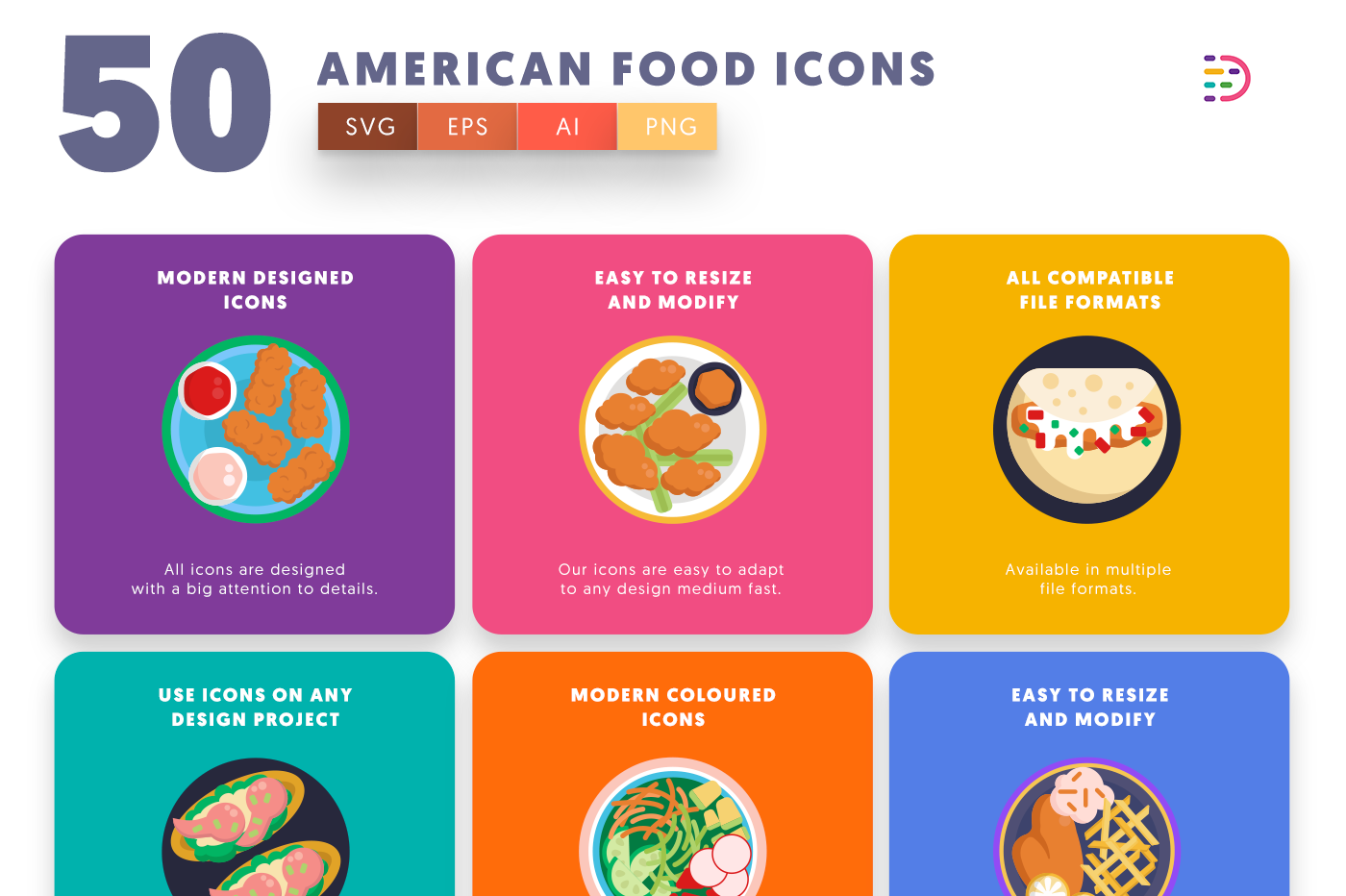 50 American Food Icons with colored backgrounds