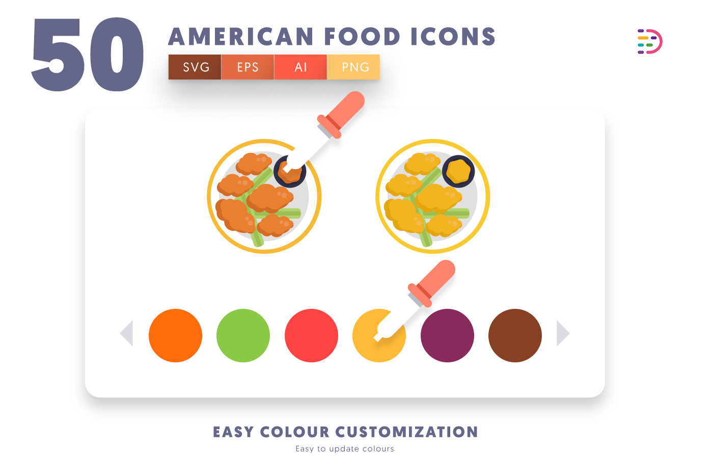 Customizable and vector 50 American Food Icons